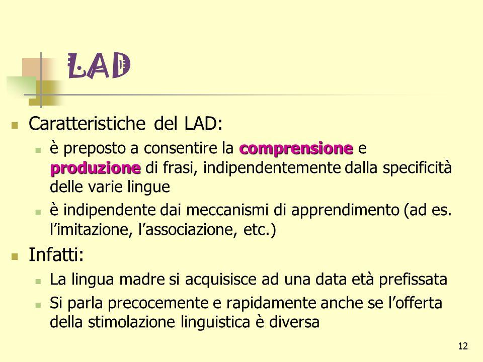12 LAD Caratteristiche del LAD: comprensione produzione è preposto a consentire la comprensione e produzione di frasi, indipendentemente dalla specifi