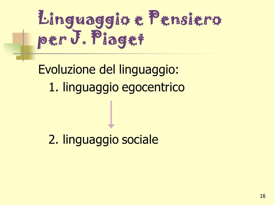 16 Linguaggio e Pensiero per J. Piaget Evoluzione del linguaggio: 1. linguaggio egocentrico 2. linguaggio sociale