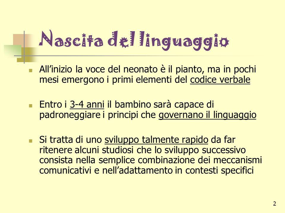 2 Nascita del linguaggio Allinizio la voce del neonato è il pianto, ma in pochi mesi emergono i primi elementi del codice verbale Entro i 3-4 anni il