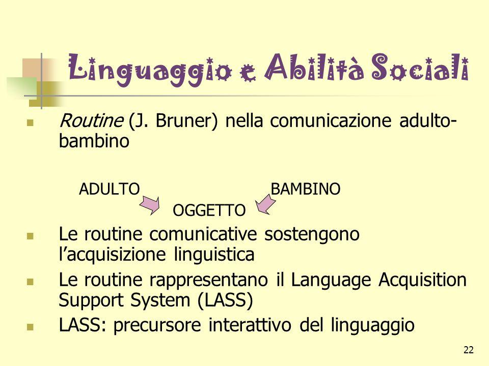 22 Linguaggio e Abilità Sociali Routine (J. Bruner) nella comunicazione adulto- bambino ADULTOBAMBINO OGGETTO Le routine comunicative sostengono lacqu