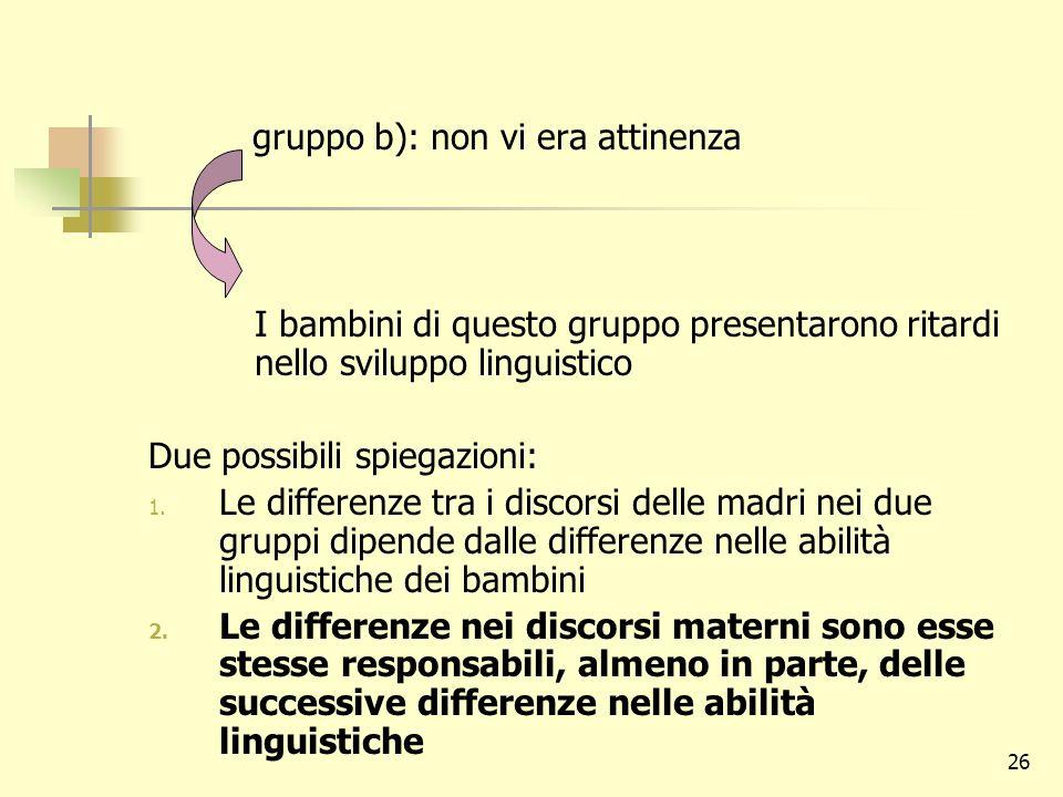 26 gruppo b): non vi era attinenza I bambini di questo gruppo presentarono ritardi nello sviluppo linguistico Due possibili spiegazioni: 1. Le differe