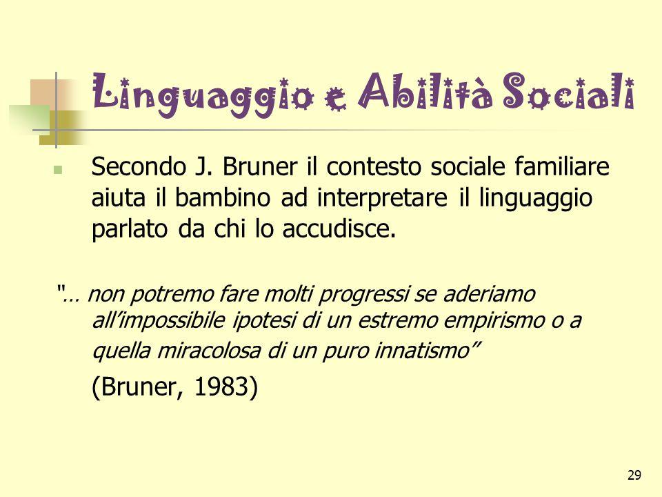 29 Linguaggio e Abilità Sociali Secondo J. Bruner il contesto sociale familiare aiuta il bambino ad interpretare il linguaggio parlato da chi lo accud