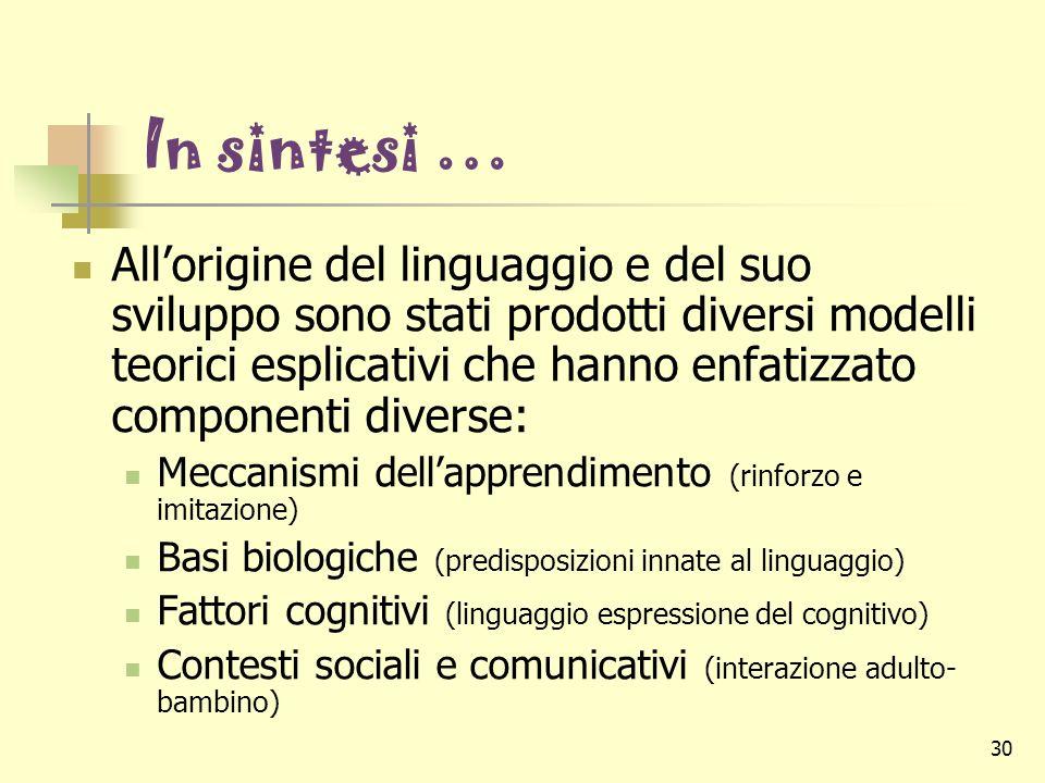 30 In sintesi … Allorigine del linguaggio e del suo sviluppo sono stati prodotti diversi modelli teorici esplicativi che hanno enfatizzato componenti