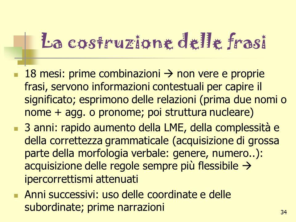 34 La costruzione delle frasi 18 mesi: prime combinazioni non vere e proprie frasi, servono informazioni contestuali per capire il significato; esprim