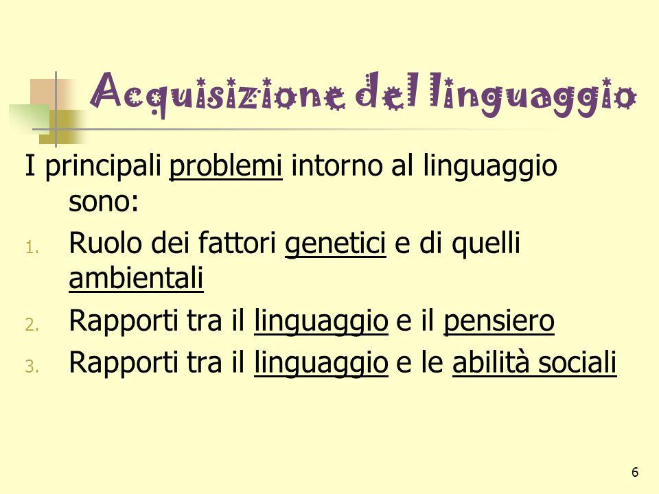 6 Acquisizione del linguaggio I principali problemi intorno al linguaggio sono: 1. Ruolo dei fattori genetici e di quelli ambientali 2. Rapporti tra i