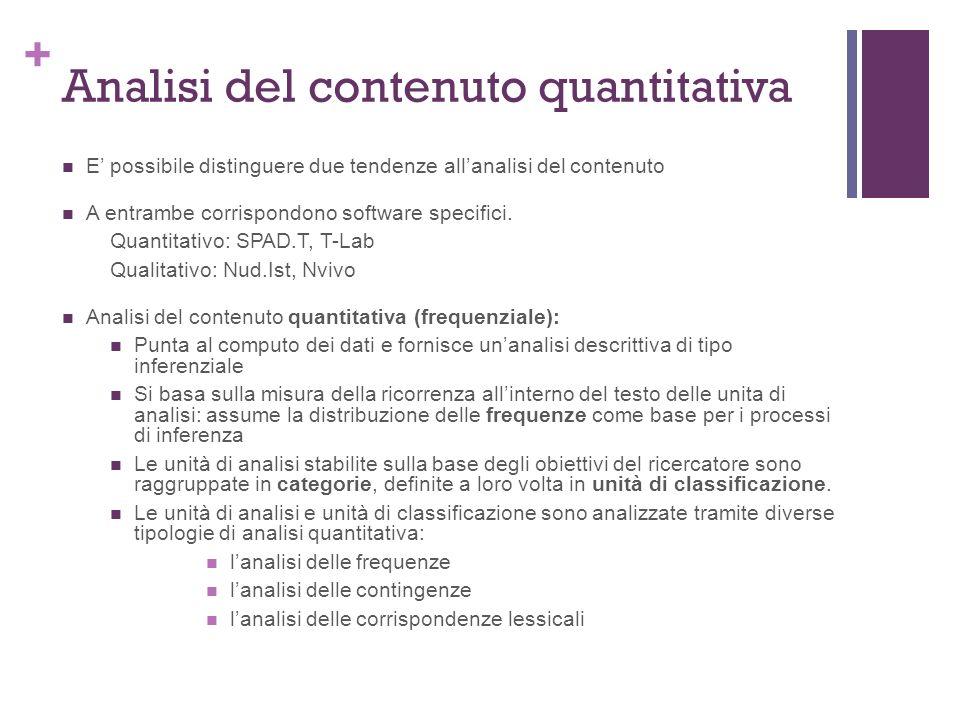 + Analisi del contenuto quantitativa E possibile distinguere due tendenze allanalisi del contenuto A entrambe corrispondono software specifici.