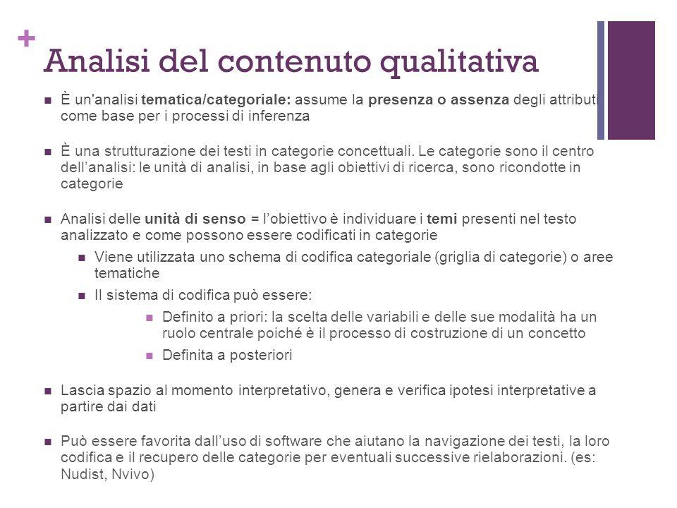 + Analisi del contenuto qualitativa È un analisi tematica/categoriale: assume la presenza o assenza degli attributi come base per i processi di inferenza È una strutturazione dei testi in categorie concettuali.