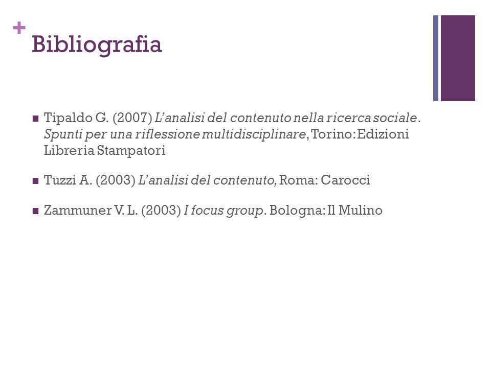 + Bibliografia Tipaldo G.(2007) Lanalisi del contenuto nella ricerca sociale.