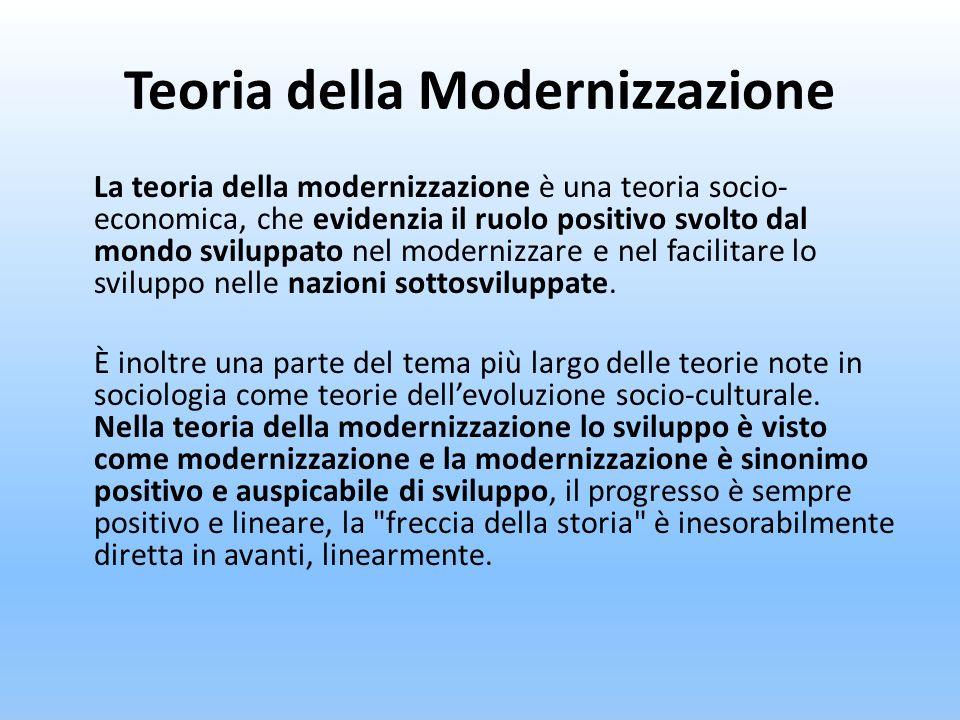 Teoria della Modernizzazione La teoria della modernizzazione è una teoria socio- economica, che evidenzia il ruolo positivo svolto dal mondo sviluppat