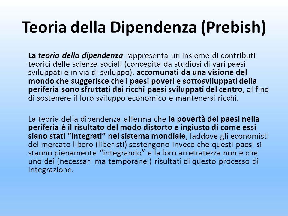 Teoria della Dipendenza (Prebish) La teoria della dipendenza rappresenta un insieme di contributi teorici delle scienze sociali (concepita da studiosi