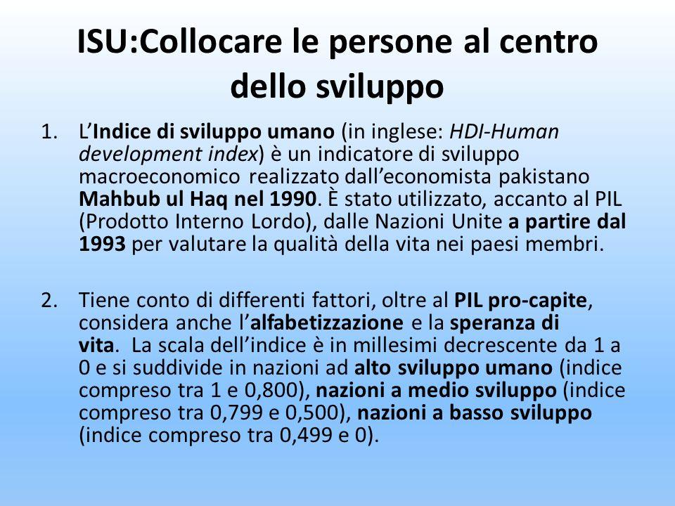ISU:Collocare le persone al centro dello sviluppo 1.LIndice di sviluppo umano (in inglese: HDI-Human development index) è un indicatore di sviluppo ma