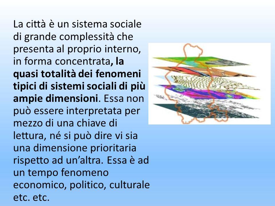 La città è un sistema sociale di grande complessità che presenta al proprio interno, in forma concentrata, la quasi totalità dei fenomeni tipici di si