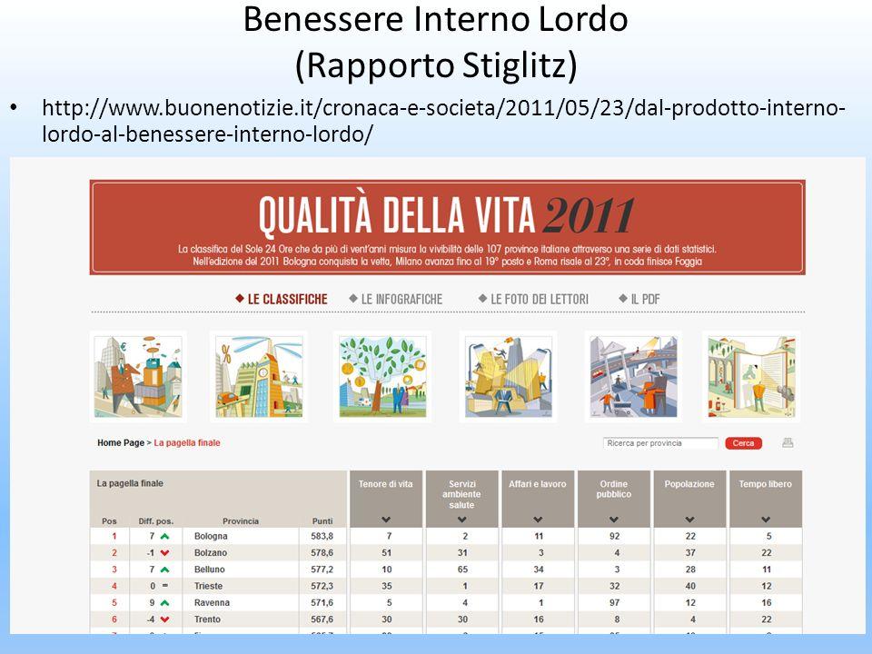 Benessere Interno Lordo (Rapporto Stiglitz) http://www.buonenotizie.it/cronaca-e-societa/2011/05/23/dal-prodotto-interno- lordo-al-benessere-interno-l