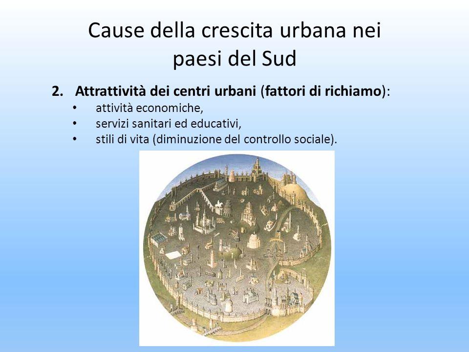 Cause della crescita urbana nei paesi del Sud 2.Attrattività dei centri urbani (fattori di richiamo): attività economiche, servizi sanitari ed educati