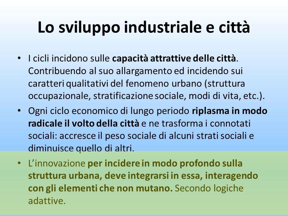 Lo sviluppo industriale e città I cicli incidono sulle capacità attrattive delle città. Contribuendo al suo allargamento ed incidendo sui caratteri qu