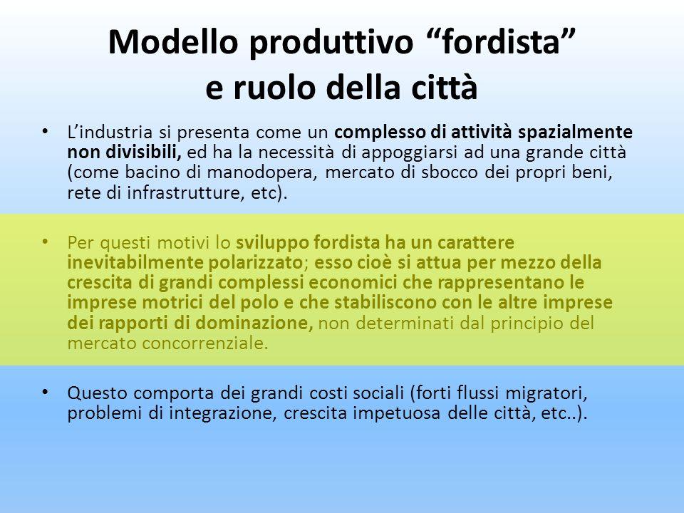Modello produttivo fordista: principali caratteristiche Lelemento innovativo del modello proposto da Ford ha come primo fondamento una trasformazione tecnologica e una riorganizzazione dellimpresa in chiave Taylorista (scomposizione e ricomposizione del processo produttivo).