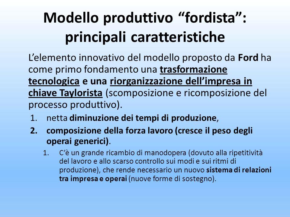 Modello produttivo fordista: principali caratteristiche Lelemento innovativo del modello proposto da Ford ha come primo fondamento una trasformazione