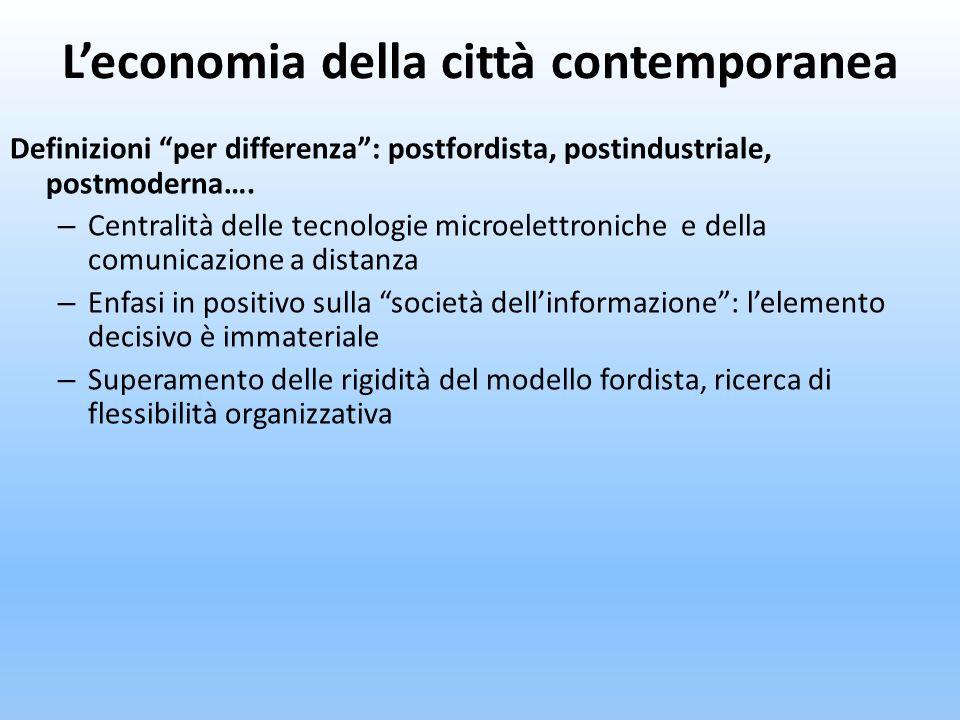 Leconomia della città contemporanea Definizioni per differenza: postfordista, postindustriale, postmoderna…. – Centralità delle tecnologie microelettr