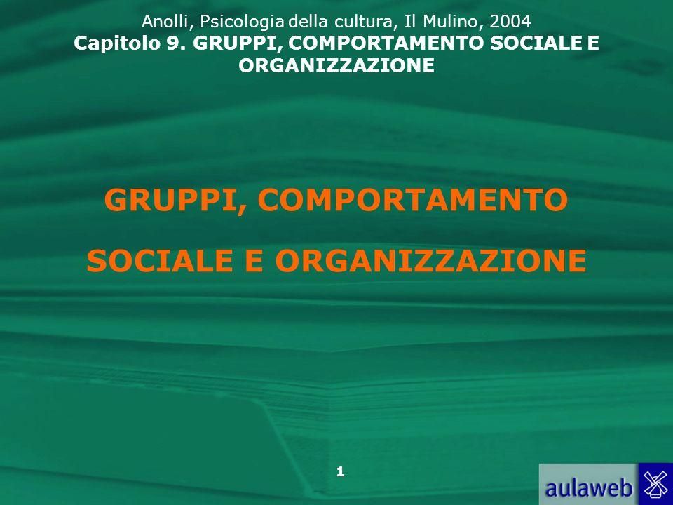 1 GRUPPI, COMPORTAMENTO SOCIALE E ORGANIZZAZIONE Anolli, Psicologia della cultura, Il Mulino, 2004 Capitolo 9. GRUPPI, COMPORTAMENTO SOCIALE E ORGANIZ