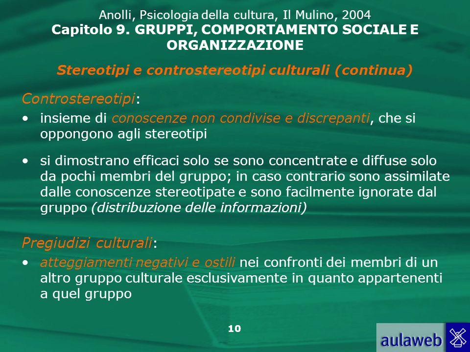 10 Anolli, Psicologia della cultura, Il Mulino, 2004 Capitolo 9. GRUPPI, COMPORTAMENTO SOCIALE E ORGANIZZAZIONE Stereotipi e controstereotipi cultural