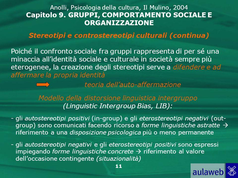 11 Anolli, Psicologia della cultura, Il Mulino, 2004 Capitolo 9. GRUPPI, COMPORTAMENTO SOCIALE E ORGANIZZAZIONE Stereotipi e controstereotipi cultural