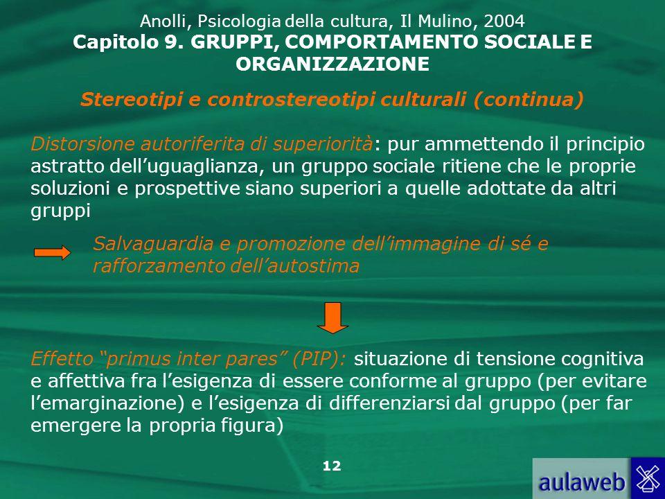 12 Anolli, Psicologia della cultura, Il Mulino, 2004 Capitolo 9. GRUPPI, COMPORTAMENTO SOCIALE E ORGANIZZAZIONE Stereotipi e controstereotipi cultural