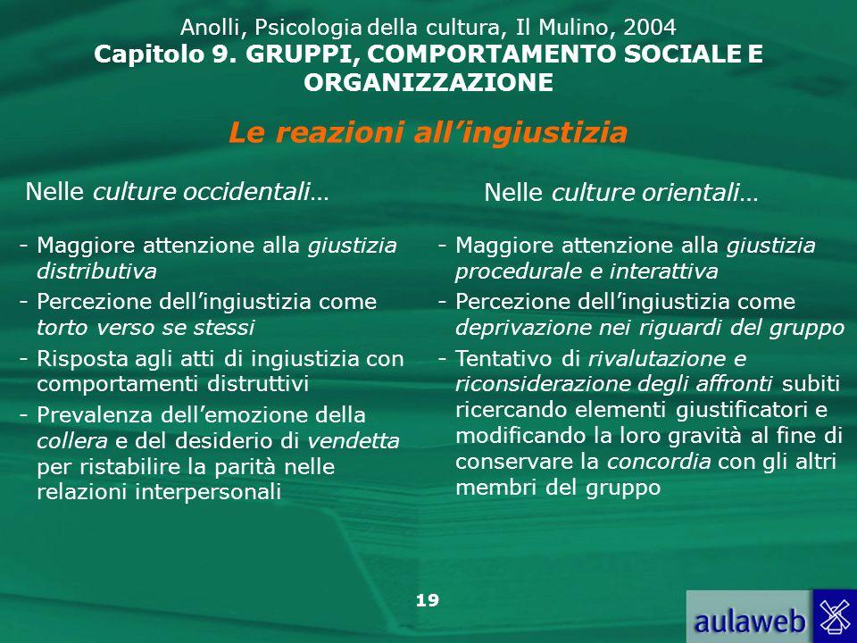 19 Anolli, Psicologia della cultura, Il Mulino, 2004 Capitolo 9. GRUPPI, COMPORTAMENTO SOCIALE E ORGANIZZAZIONE Le reazioni allingiustizia Nelle cultu