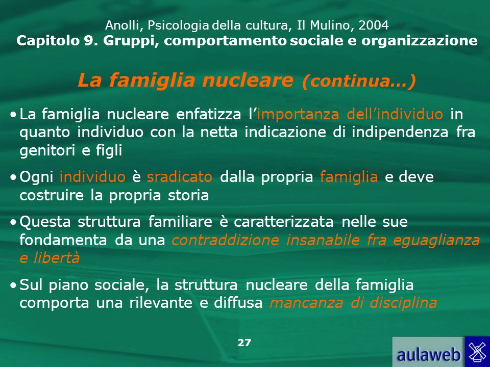 27 Anolli, Psicologia della cultura, Il Mulino, 2004 Capitolo 9. Gruppi, comportamento sociale e organizzazione La famiglia nucleare (continua…) La fa