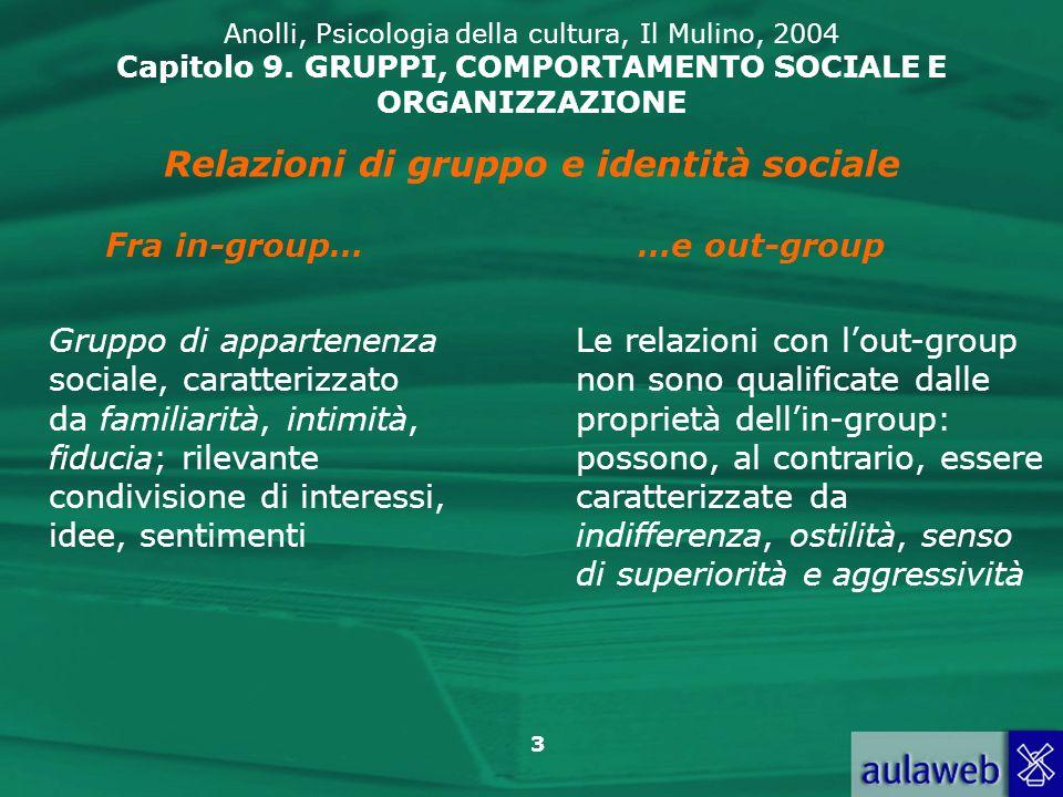 3 Anolli, Psicologia della cultura, Il Mulino, 2004 Capitolo 9. GRUPPI, COMPORTAMENTO SOCIALE E ORGANIZZAZIONE Relazioni di gruppo e identità sociale