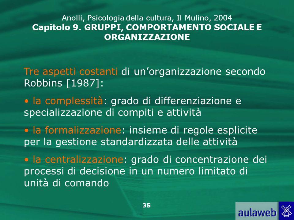 35 Tre aspetti costanti di unorganizzazione secondo Robbins [1987]: la complessità: grado di differenziazione e specializzazione di compiti e attività