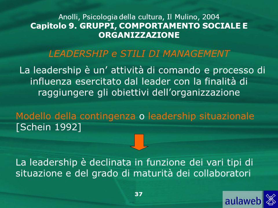 37 LEADERSHIP e STILI DI MANAGEMENT La leadership è un attività di comando e processo di influenza esercitato dal leader con la finalità di raggiunger