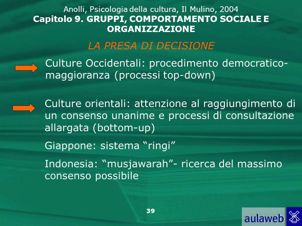 39 LA PRESA DI DECISIONE Culture Occidentali: procedimento democratico- maggioranza (processi top-down) Culture orientali: attenzione al raggiungiment