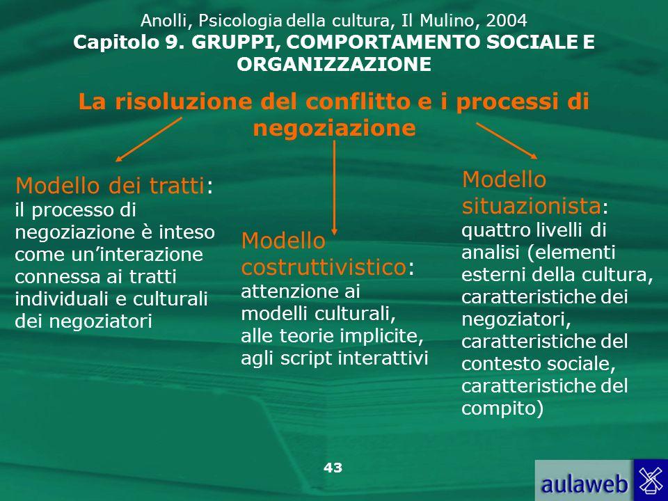 43 La risoluzione del conflitto e i processi di negoziazione Modello dei tratti: il processo di negoziazione è inteso come uninterazione connessa ai t