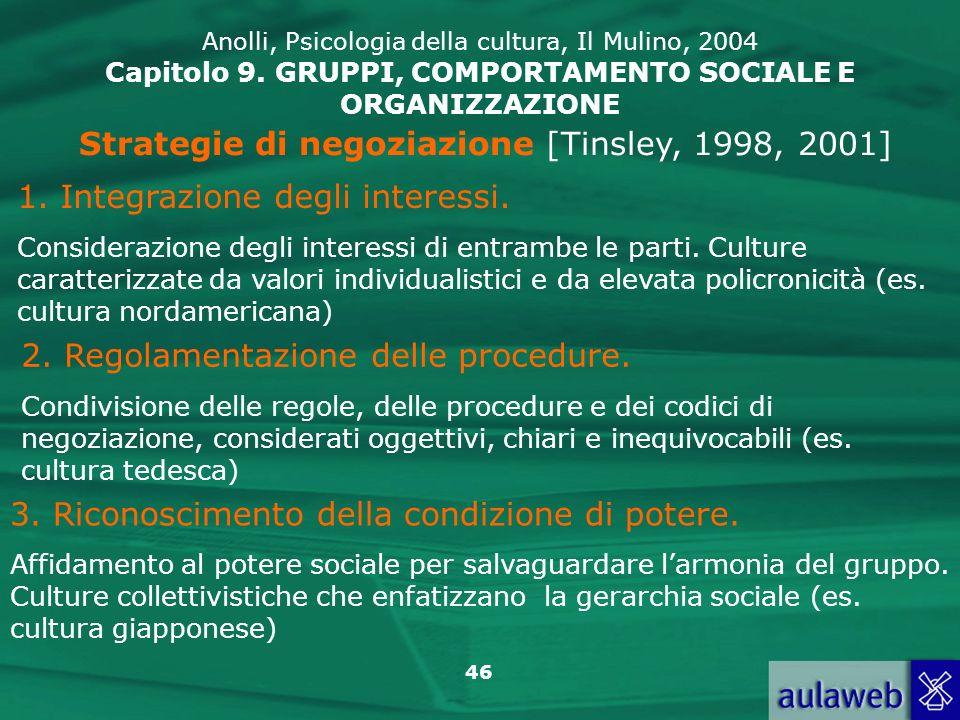 46 Strategie di negoziazione [Tinsley, 1998, 2001] 1. Integrazione degli interessi. Considerazione degli interessi di entrambe le parti. Culture carat