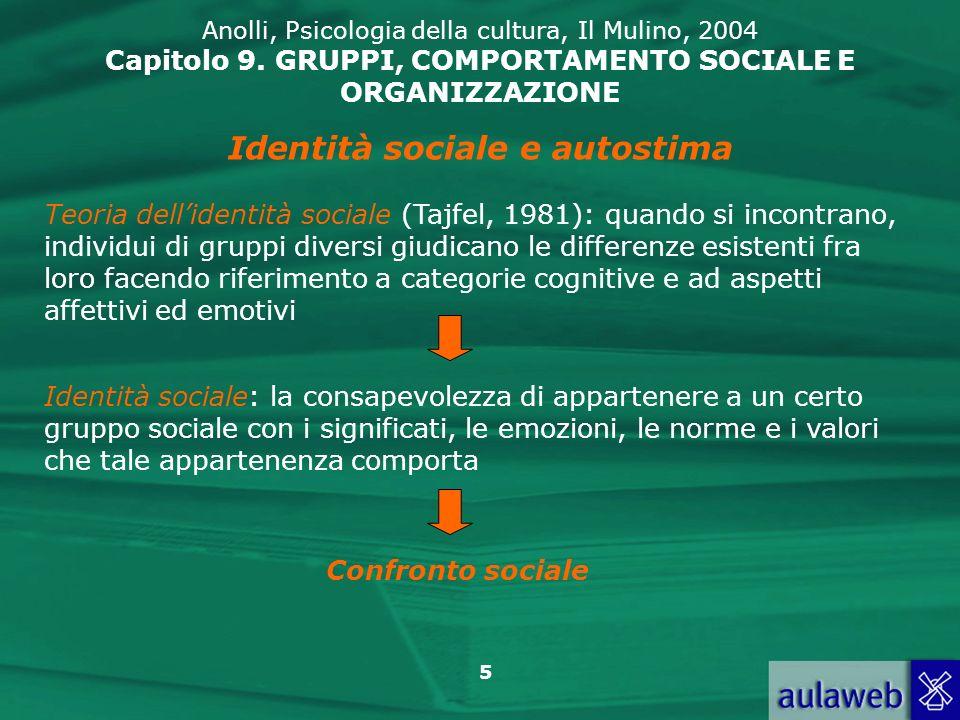 5 Anolli, Psicologia della cultura, Il Mulino, 2004 Capitolo 9. GRUPPI, COMPORTAMENTO SOCIALE E ORGANIZZAZIONE Identità sociale e autostima Teoria del