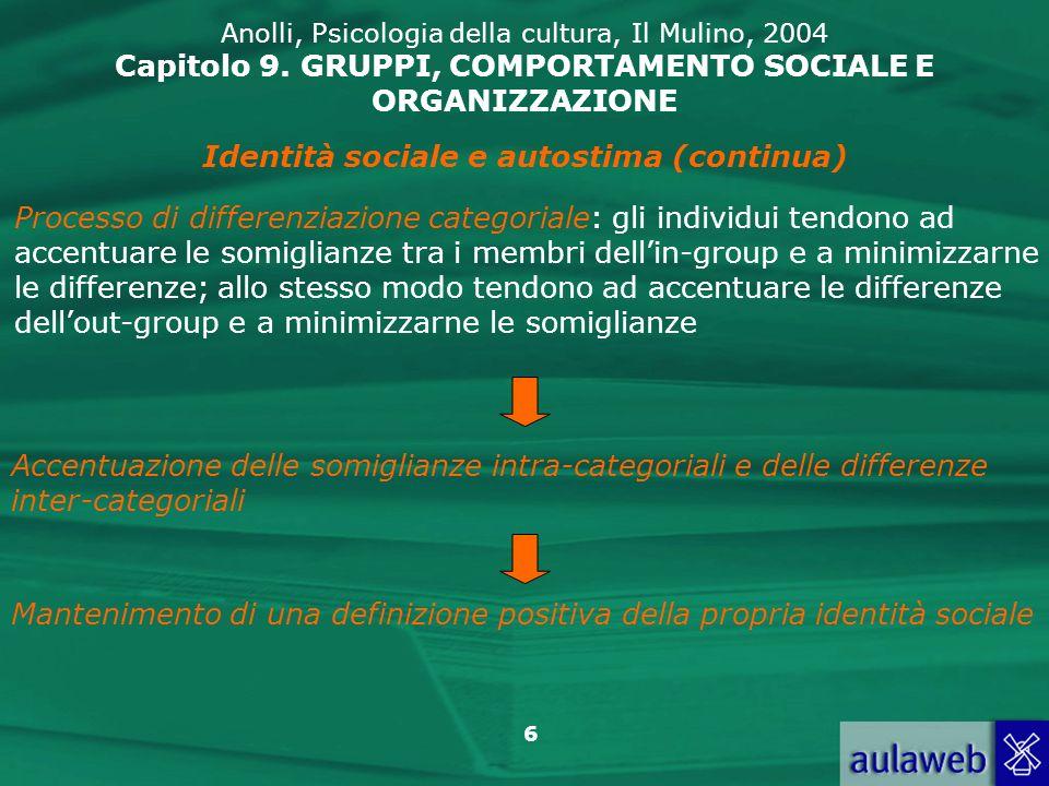 6 Anolli, Psicologia della cultura, Il Mulino, 2004 Capitolo 9. GRUPPI, COMPORTAMENTO SOCIALE E ORGANIZZAZIONE Identità sociale e autostima (continua)