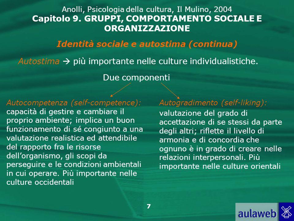 7 Anolli, Psicologia della cultura, Il Mulino, 2004 Capitolo 9. GRUPPI, COMPORTAMENTO SOCIALE E ORGANIZZAZIONE Identità sociale e autostima (continua)