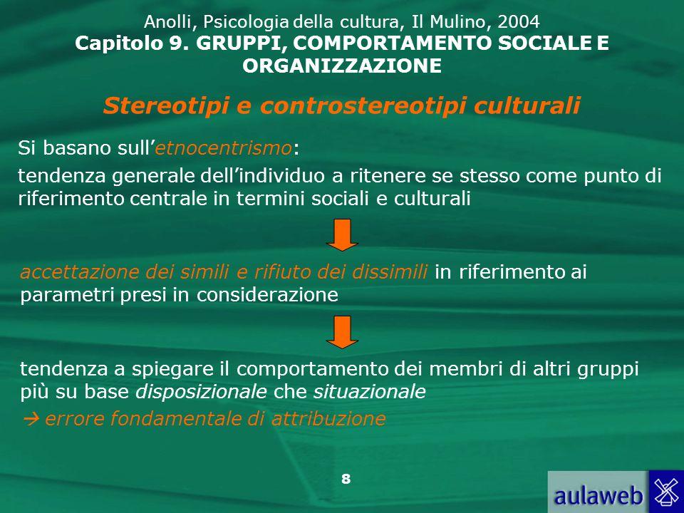 8 Anolli, Psicologia della cultura, Il Mulino, 2004 Capitolo 9. GRUPPI, COMPORTAMENTO SOCIALE E ORGANIZZAZIONE Stereotipi e controstereotipi culturali