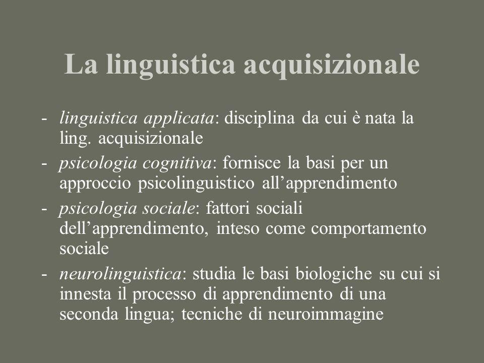 La linguistica acquisizionale -linguistica applicata: disciplina da cui è nata la ling.