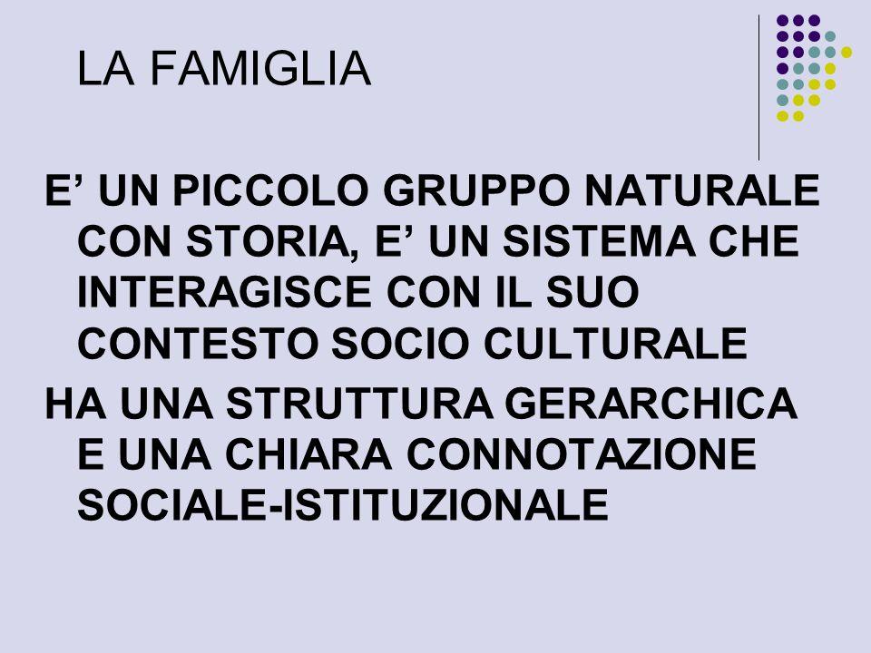 LA FAMIGLIA E UN PICCOLO GRUPPO NATURALE CON STORIA, E UN SISTEMA CHE INTERAGISCE CON IL SUO CONTESTO SOCIO CULTURALE HA UNA STRUTTURA GERARCHICA E UNA CHIARA CONNOTAZIONE SOCIALE-ISTITUZIONALE
