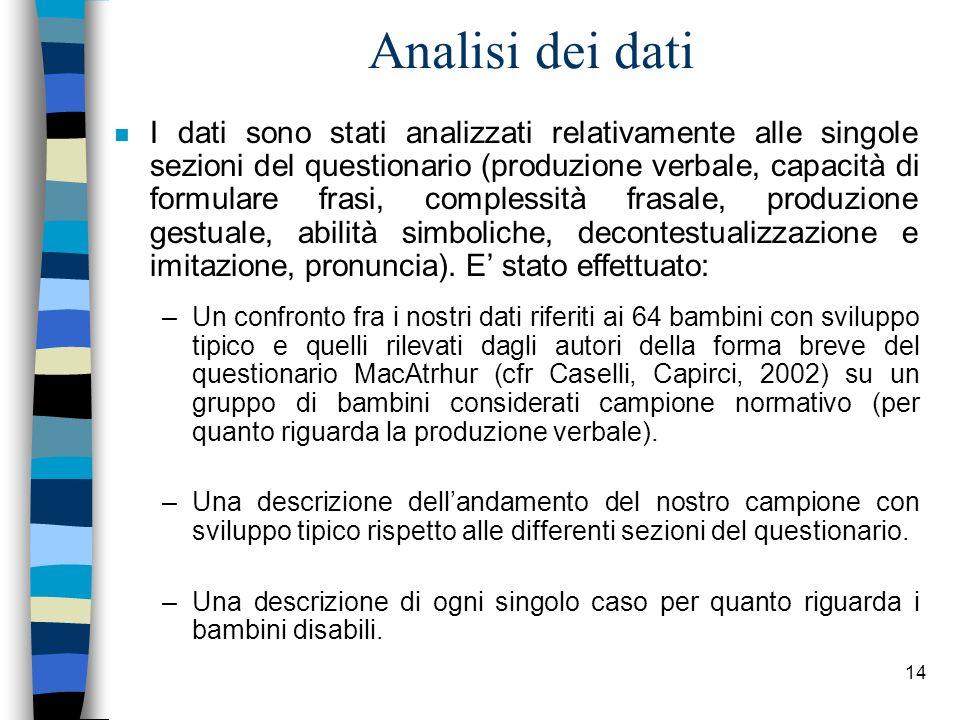 14 Analisi dei dati n I dati sono stati analizzati relativamente alle singole sezioni del questionario (produzione verbale, capacità di formulare fras