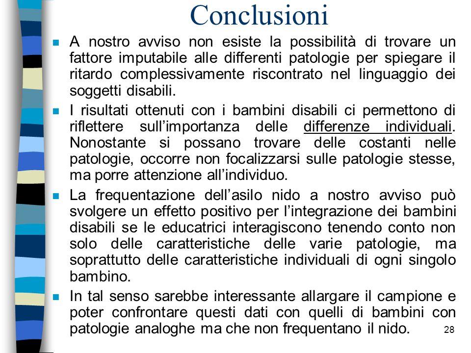 28 Conclusioni n A nostro avviso non esiste la possibilità di trovare un fattore imputabile alle differenti patologie per spiegare il ritardo compless