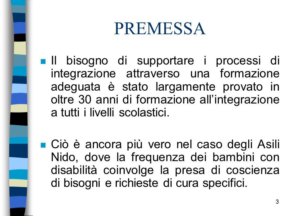 3 PREMESSA n Il bisogno di supportare i processi di integrazione attraverso una formazione adeguata è stato largamente provato in oltre 30 anni di for