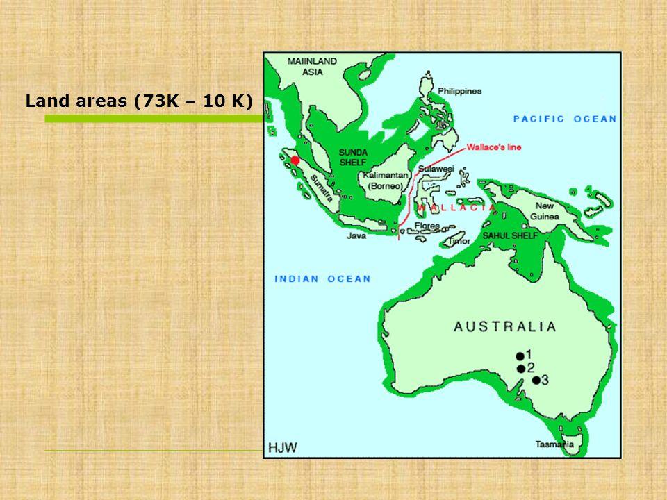 Land areas (73K – 10 K)