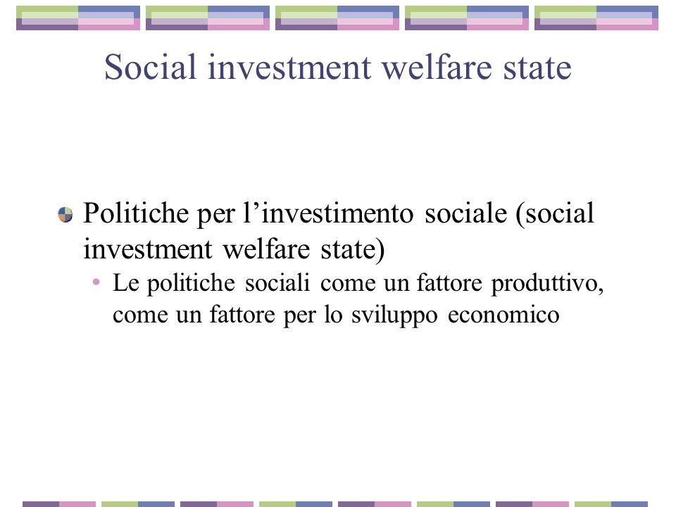 Social investment welfare state La via nordica: protezione sociale promozione sociale La via anglosassone..