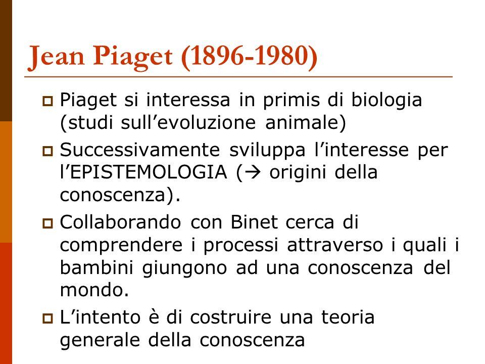 Jean Piaget (1896-1980) Piaget si interessa in primis di biologia (studi sullevoluzione animale) Successivamente sviluppa linteresse per lEPISTEMOLOGI