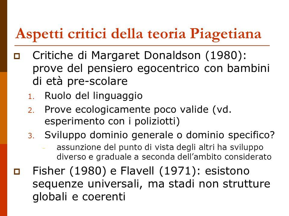 Aspetti critici della teoria Piagetiana Critiche di Margaret Donaldson (1980): prove del pensiero egocentrico con bambini di età pre-scolare 1. Ruolo