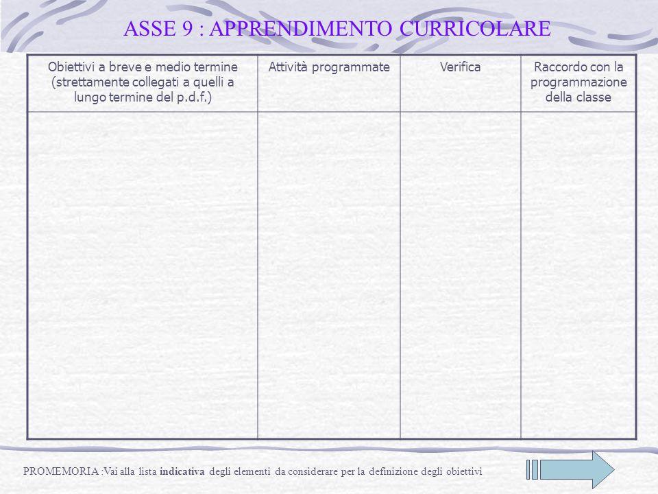 ASSE 9 : APPRENDIMENTO CURRICOLARE Obiettivi a breve e medio termine (strettamente collegati a quelli a lungo termine del p.d.f.) Attività programmate