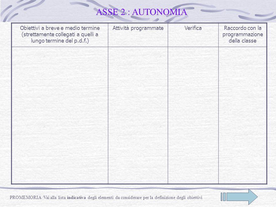 ASSE 2 : AUTONOMIA Obiettivi a breve e medio termine (strettamente collegati a quelli a lungo termine del p.d.f.) Attività programmateVerificaRaccordo