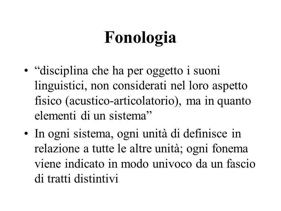 Fonologia disciplina che ha per oggetto i suoni linguistici, non considerati nel loro aspetto fisico (acustico-articolatorio), ma in quanto elementi d